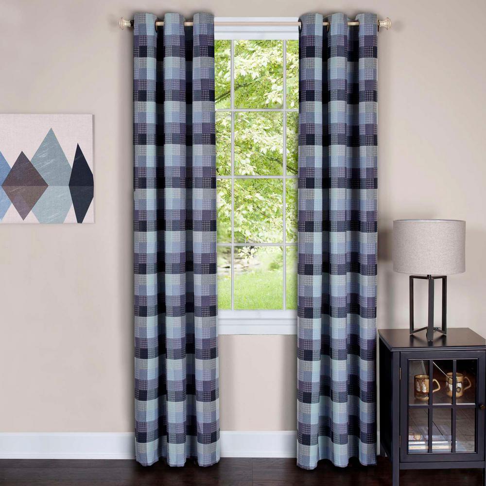 Achim Harvard Blue Window Curtain Panel w/6 Grommets - 42 in. W x 84 in. L