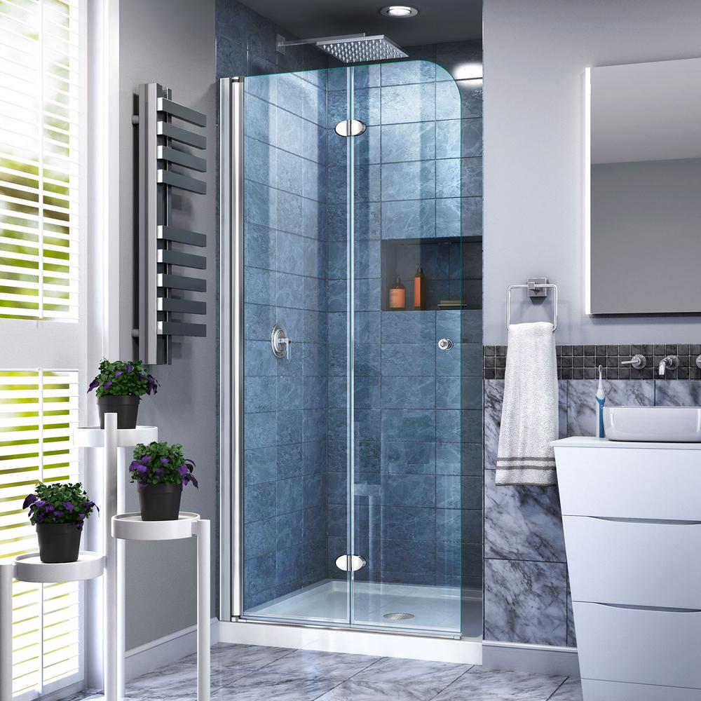 DreamLine Aqua Fold 29.5 in. x 72 in. Frameless Pivot Shower Door in ...