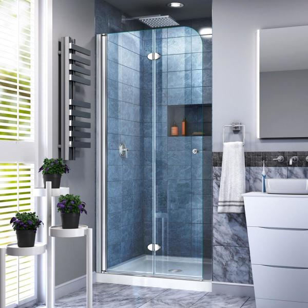 Dreamline Aqua Fold 33 5 In X 72 In Semi Frameless Hinged Shower Door In Chrome Shdr 3634720 01 The Home Depot