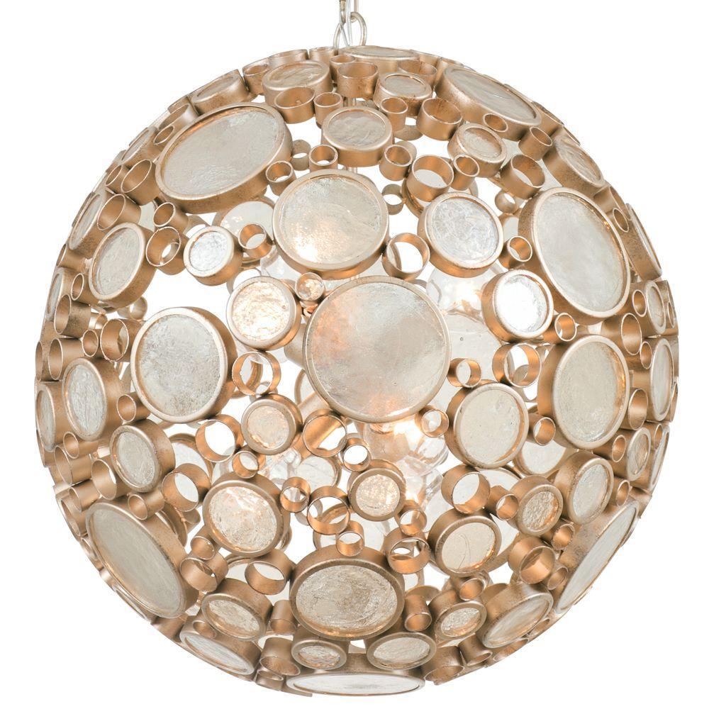 Varaluz Fascination 6-Light Zen Gold Pendant with Champagne Bottle Glass