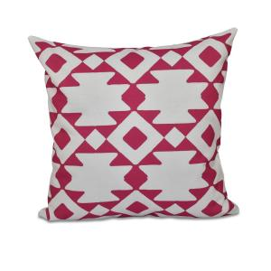 16 inch x 16 inch Geometric Decorative Pillow in Fuchsia by