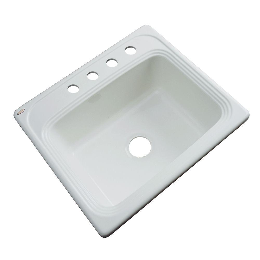 Thermocast Wellington Drop-In Acrylic 25 in. 4-Hole Single Bowl Kitchen Sink in Ice Grey