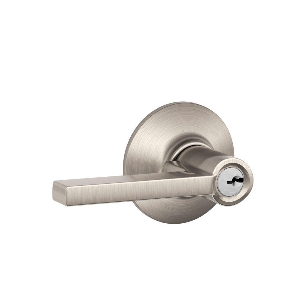 Schlage Latitude Satin Nickel Keyed Entry Lever F51 V LAT 619   The Home  Depot