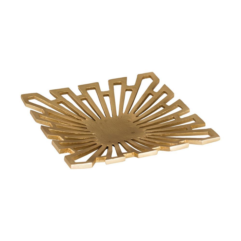 Greek Starburst 12 in. x 2 in. Square Aluminum Decorative Tray in Gold