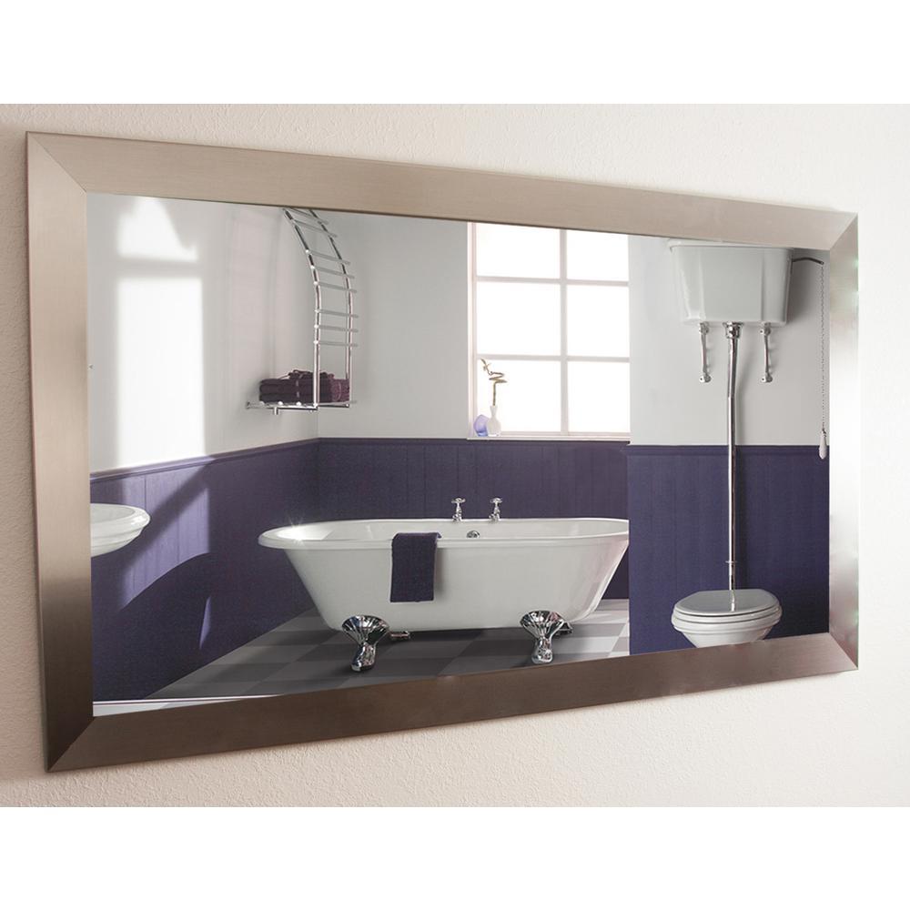 Medium Rectangle Silver Hooks Modern Mirror (38 in. H x 32 in. W)