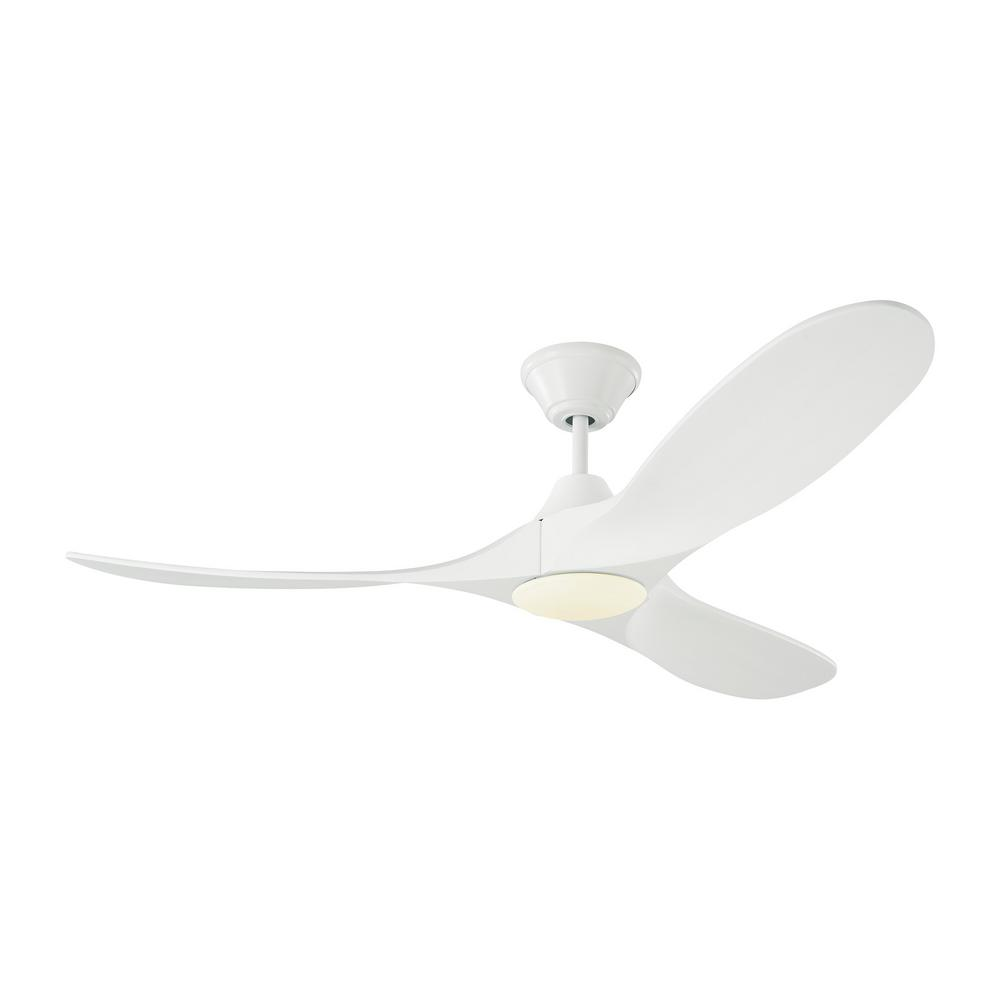 Monte Carlo Maverick II 52 in. Integrated LED Indoor/Outdoor Matte White Ceiling Fan with White Blades with Remote Control