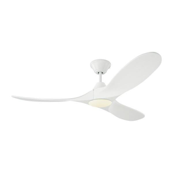 Maverick II 52 in. Integrated LED Indoor/Outdoor Matte White Ceiling Fan with White Blades, DC Motor and Remote Control