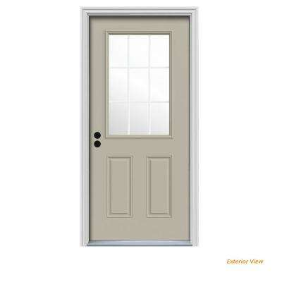 32 in. x 80 in. 9 Lite Desert Sand Painted Steel Prehung Right-Hand Inswing Front Door w/Brickmould