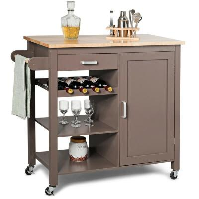 Brown Kitchen Island Trolley Cart Wood Top Storage Cabinet with Wine Rack and Shelf