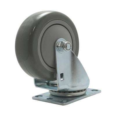 4 in. Polyurethane Swivel Plate Caster with 375 lbs. Load Rating