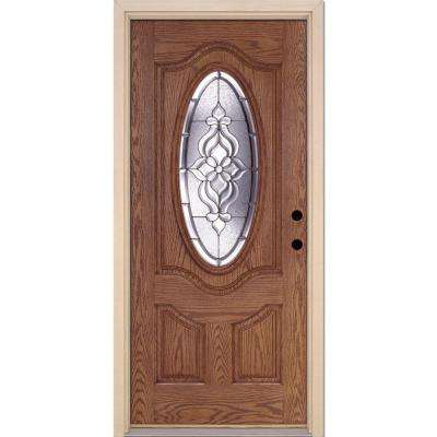 37.5 in. x 81.625 in. Lakewood Zinc 3/4 Oval Lite Stained Medium Oak Left-Hand Inswing Fiberglass Prehung Front Door