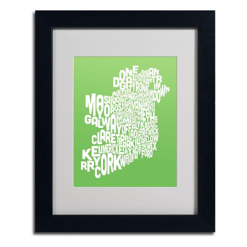 11 in. x 14 in. Ireland Text Map - Lime Matted