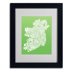 11 in. x 14 in. Ireland Text Map - Lime Matted Framed Art
