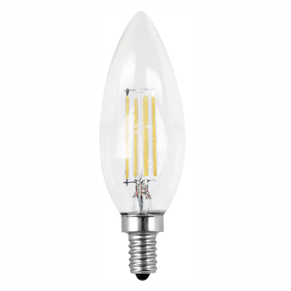 Feit Electric 60W Equivalent Soft White (2700K) B10 Candelabra Dimmable Filament LED Clear Glass Light Bulb (48-Pack)