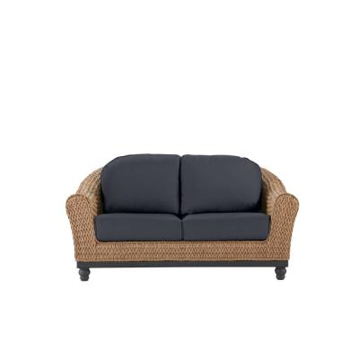 Camden Light Brown Seagrass Wicker Outdoor Patio Loveseat with CushionGuard Midnight Navy Blue Cushions
