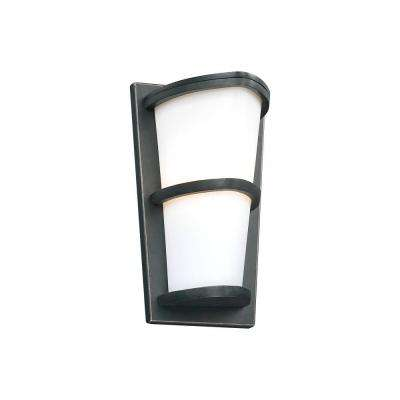 1-Light Outdoor Oil Rubbed Bronze Wall Sconce with Matte Opal Glass