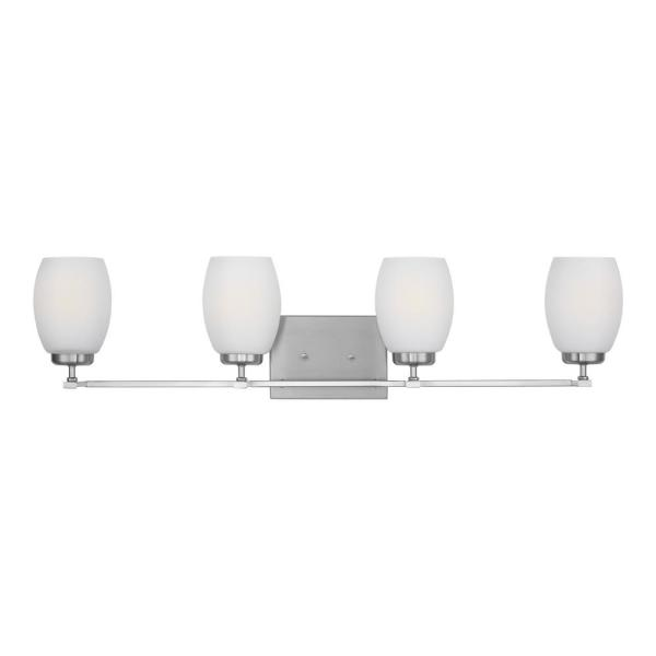 Catlin 33.75 in. 4-Light Brushed Nickel Vanity Light with Etched White Inside Glass Shades