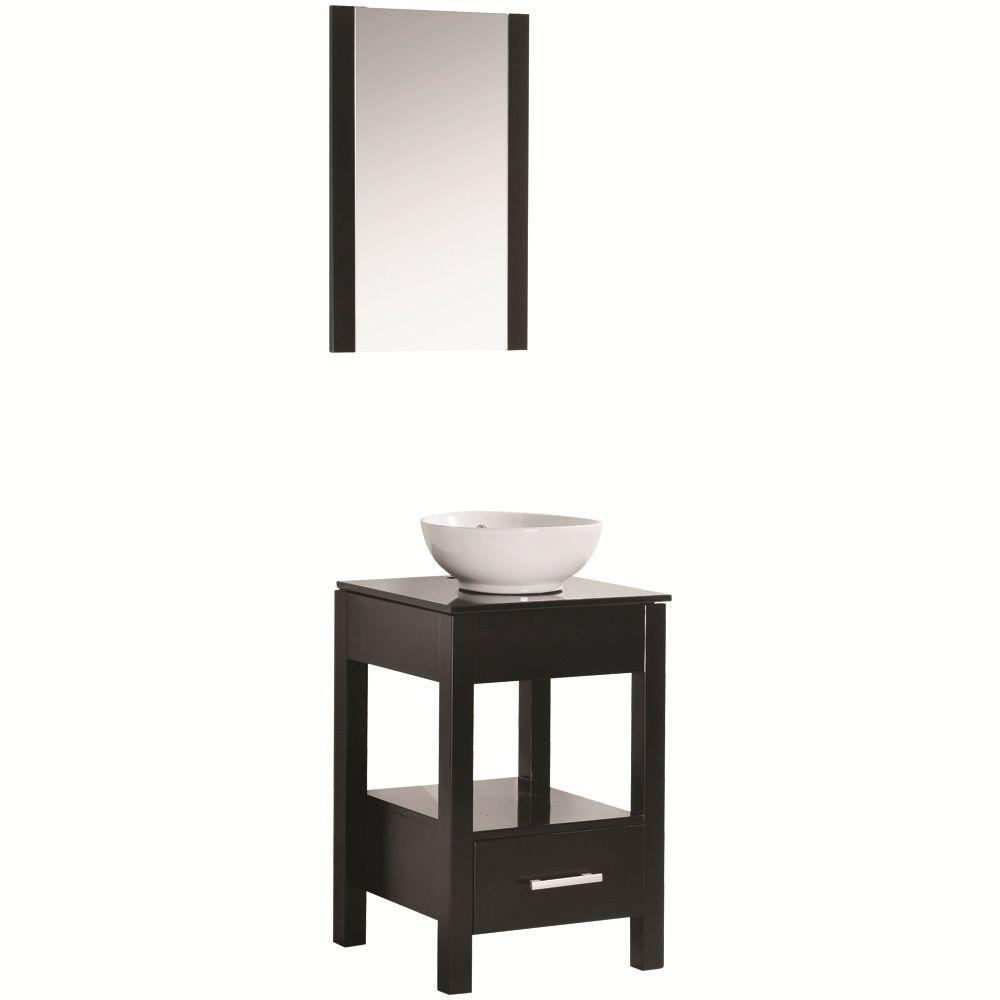 Maranella Atala 19 in. Vanity in Espresso with Tempered Glass Vanity Top in Espresso and Mirror