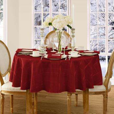 70 in. Round Poinsettia Red Elrene Elegance Plaid Damask Fabric Tablecloth