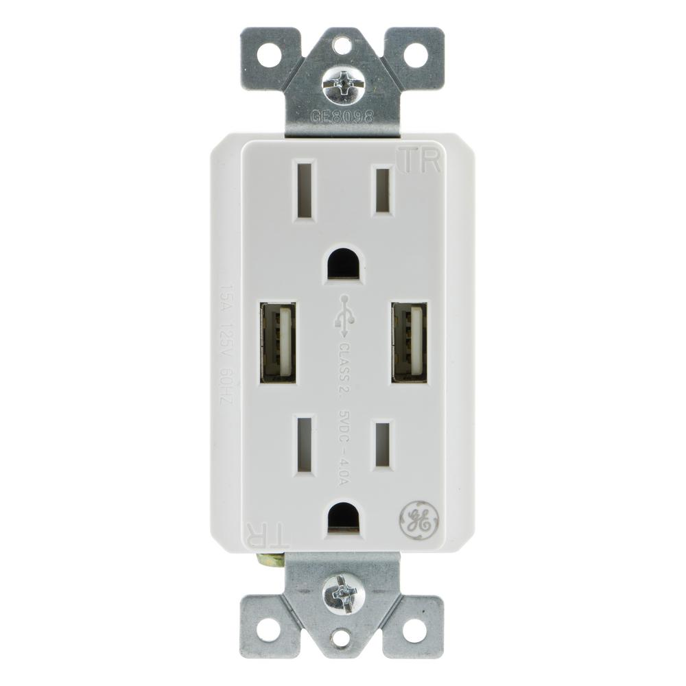 2 Outlet 2 USB UltraPro Charging Tamper Resistant In-Wall Receptacle