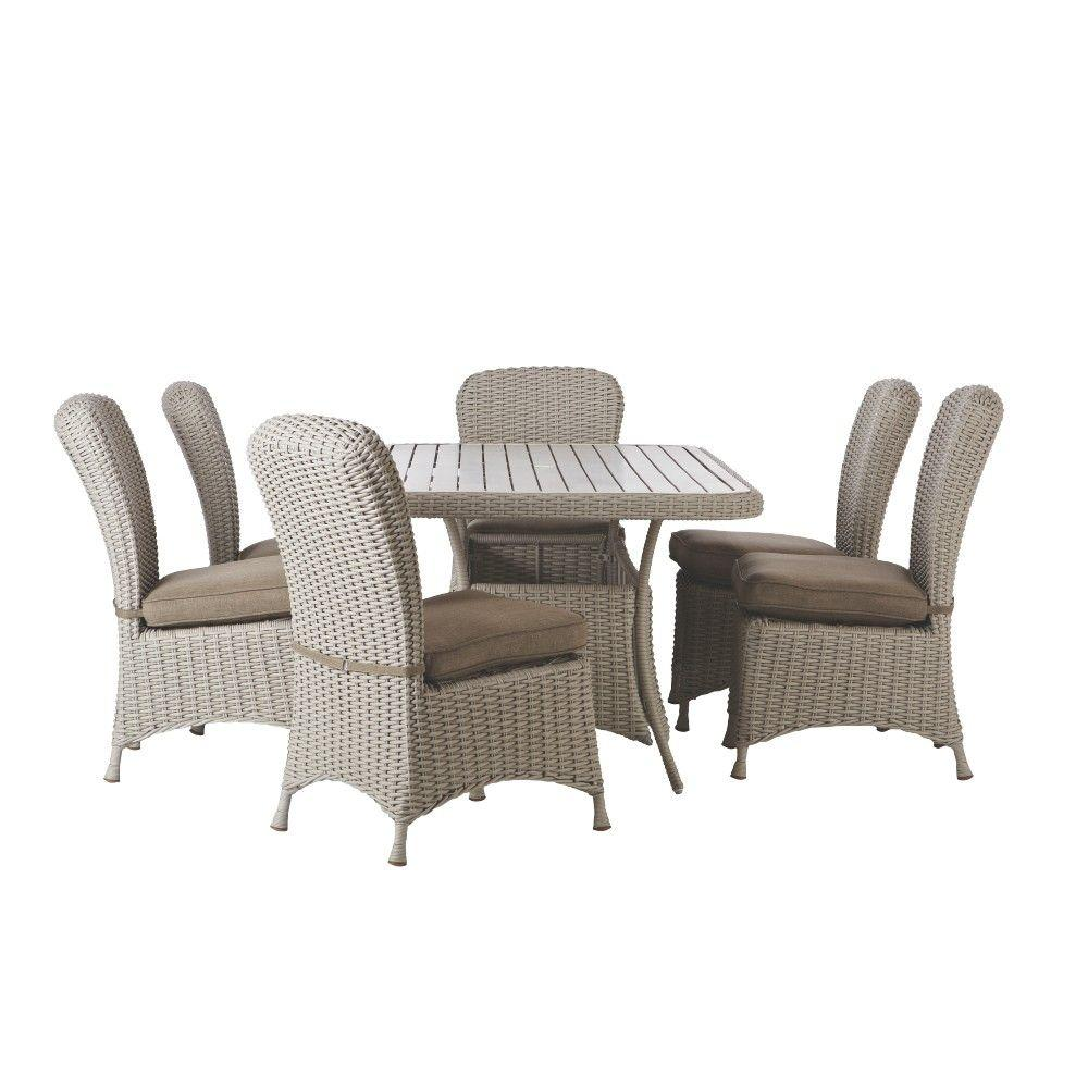 Martha Living Lake Adela Bone 7 Piece Patio Dining Set With Wheat Cushions