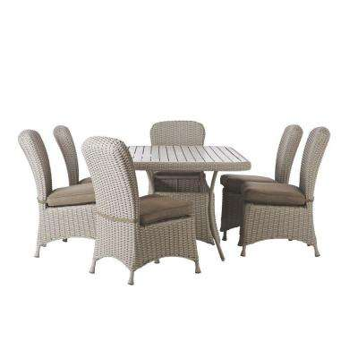 Marvelous Lake Adela Bone 7 Piece Patio Dining Set With Wheat Cushions