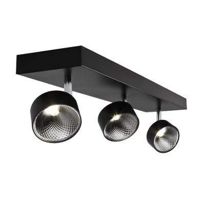 3-Light Black Matte Integrated LED Spots Flushmount