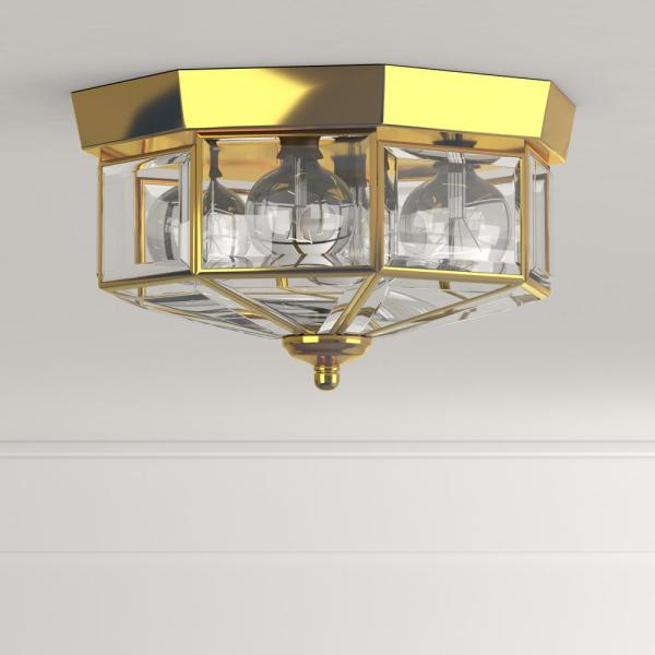Progress Lighting 9 75 In 3 Light Polished Brass Flush Mount With Clear Beveled Glass P5788 10 The Home Depot