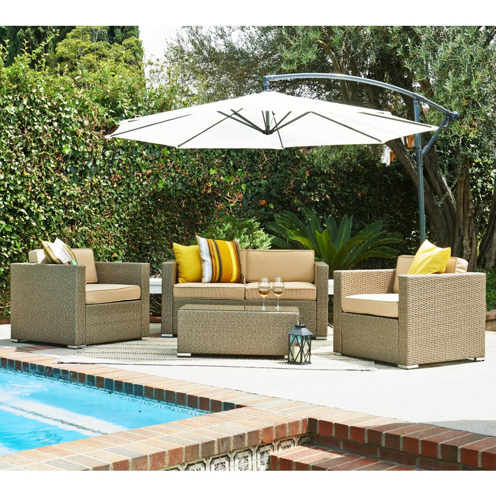 SDENTE Cane Garden Light Brown 5Piece Outdoor Wicker Patio Conversation Set with Beige