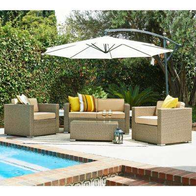 Cane Garden Light Brown 5-Piece Outdoor Wicker Patio Conversation Set with Beige Cushions