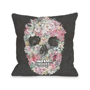 Click here to buy  Dia Muertos Skull Flowers 16 inch x 16 inch Decorative Pillow.