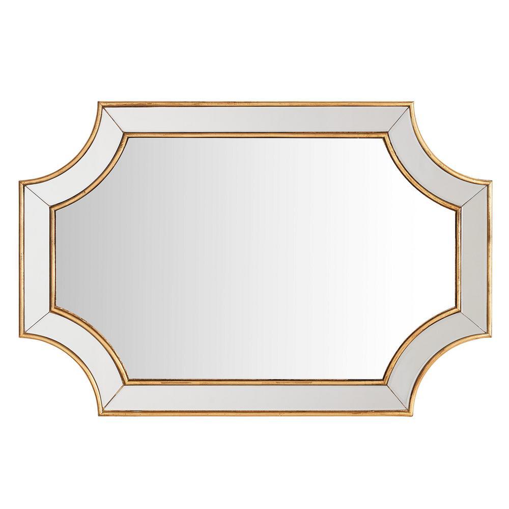 Medium Ornate Gold Beveled Glass Classic Accent Mirror (24 in. H x 35 in. W)