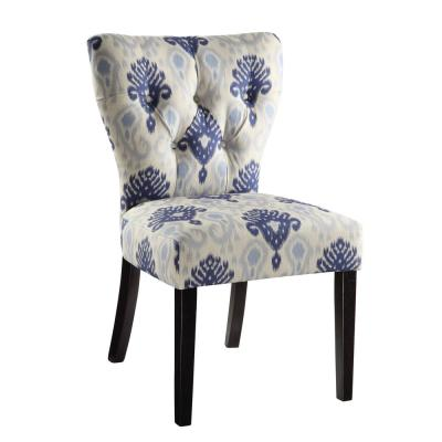 Medallion Ikat Blue Fabric Andrew Chair