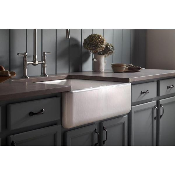 Kohler Whitehaven Farmhouse Undermount Apron Front Cast Iron 30 In Self Trimming Single Bowl Kitchen Sink In White K 6487 0 The Home Depot