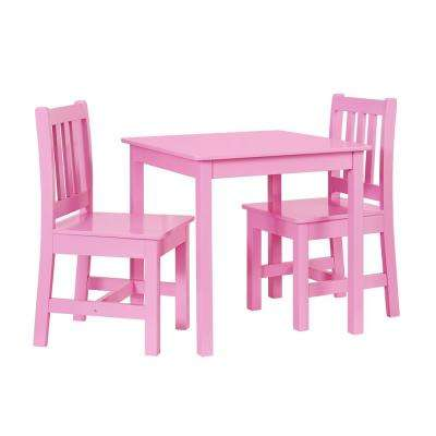 Keena 3-Piece Pink Kid Table and 2-Chairs Set
