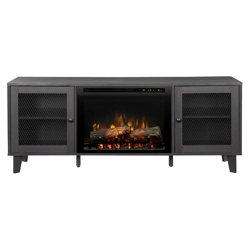 Marvelous Dimplex Dean 65 In Media Console In Wrought Iron With A 26 In Electric Fireplace With Logs Interior Design Ideas Grebswwsoteloinfo