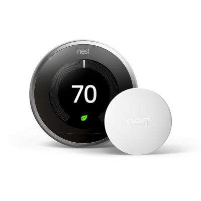 Nest Learning Thermostat 3rd Gen in Stainless Steel and Google Nest Temperature Sensor