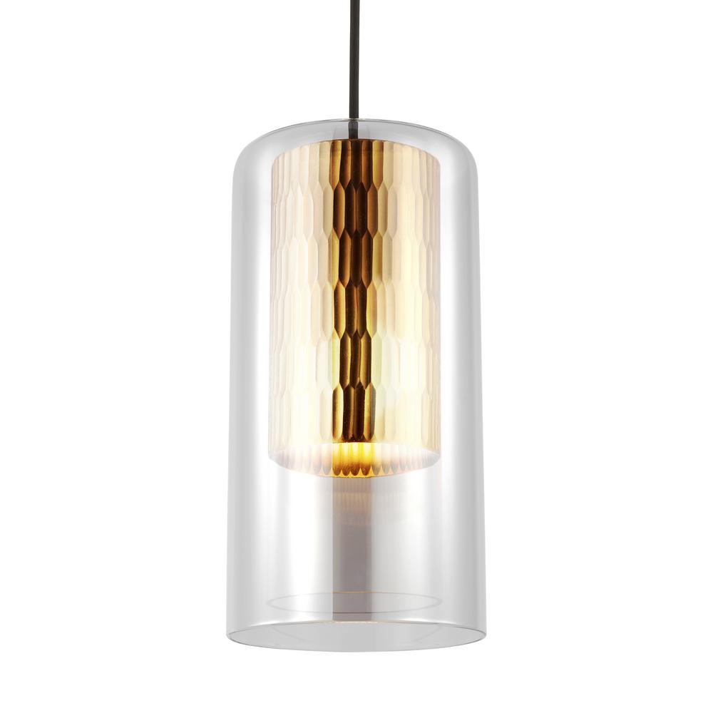 Anavi 1 light transparent smoke pendant with led bulb