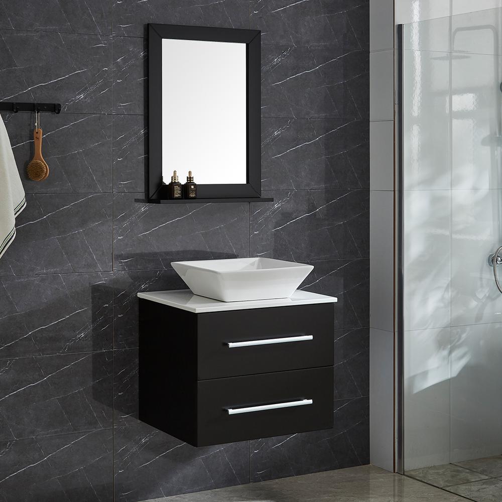 Vanity Set.Garrido Bros Co Alicia 24 In 4 Piece Pvc Floating Vanity Set With Ceramic Vessel Vanity Base Mirror And Wall Cabinet