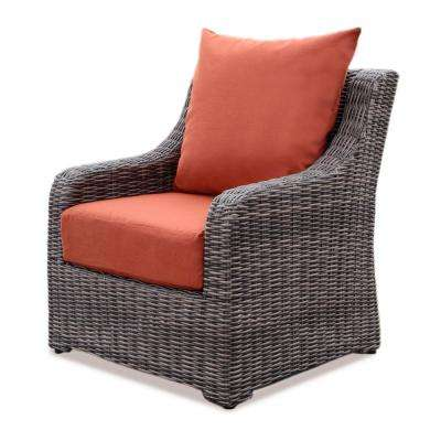 Cherry Hill Plastic Outdoor Lounge Chair with Canvas Brick Cushion