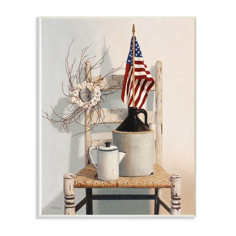"12 in. x 18 in. ""Vintage Rustic Things American Flag Neutral Painting"" by Cecile Baird Wood Wall Art"