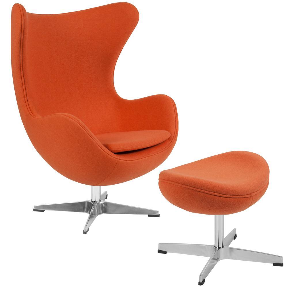 Orange Fabric Chair and Ottoman Set