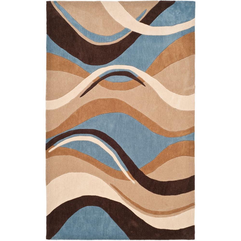Modern Art Blue/Brown 5 ft. x 8 ft. Area Rug