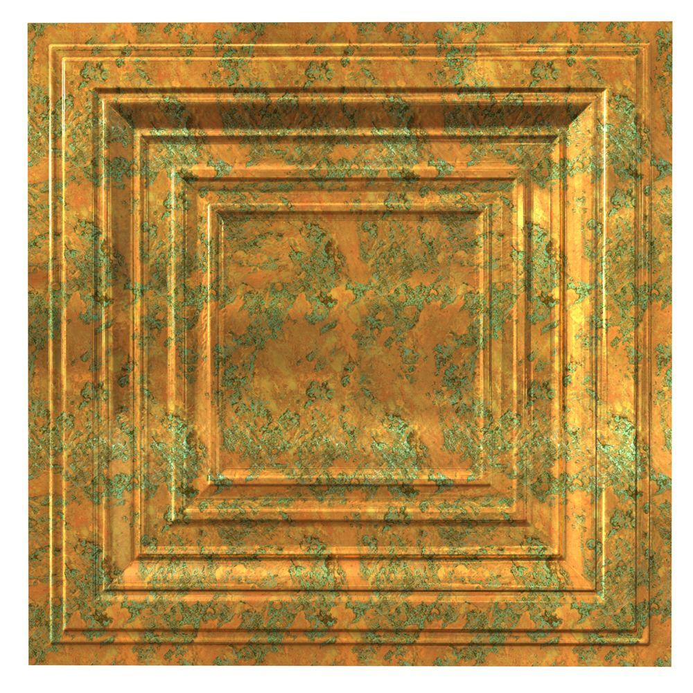 Fasade Traditional 3 Copper Fantasy 2 Ft X 2 Ft Lay In Vinyl Ceiling Tile 20 Sq Ft Pl5411 The Home Depot