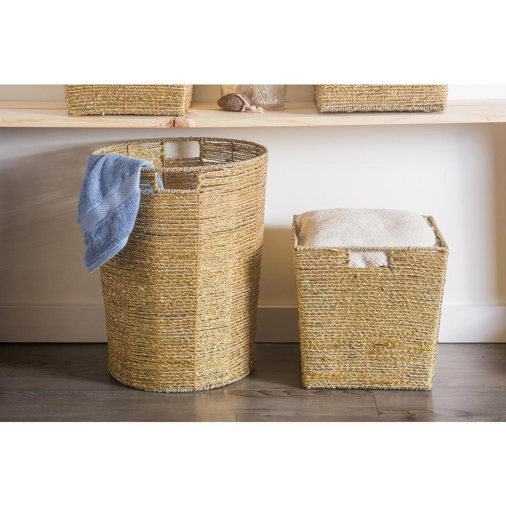 Round Woven Seagrass Decorative Bin