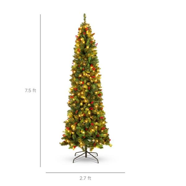 Best Choice Products 7 5 Ft Pre Lit Incandescent Pencil Artificial Christmas Tree With 350 Warm White Lights Pine Cones Berries Sky5979 The Home Depot
