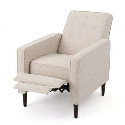 Wheat Beige Button Back Fabric Recliner
