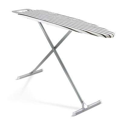 T-Leg Ironing Board with Safety Iron Rest and B and W Striped Cover