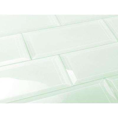 Subway 3 in. x 12 in. Rectangle Green Beveled Glossy Glass Peel & Stick Decorative Bathroom Wall Tile Backsplash Sample