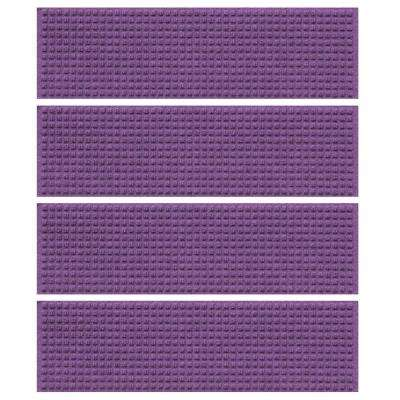 Purple 8.5 in. x 30 in. Squares Stair Tread Cover (Set of 4)